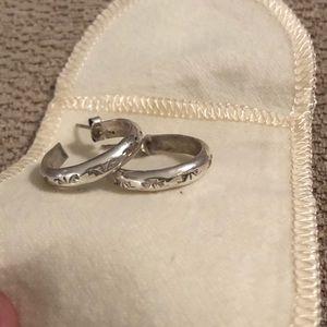 Jewelry - Embossed sterling silver hoop earrings